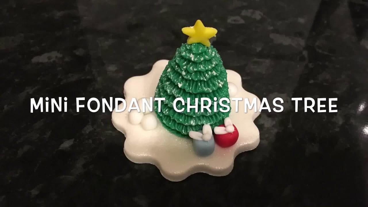 Mini Fondant Christmas Tree Cupcake Topper Youtube