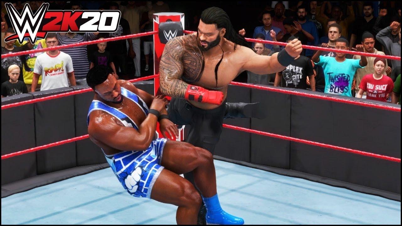 WWE 2K20 Roman Reigns RED GLOVES - Roman Vs Big E Vs Bobby Lashley WWE 2K20 Gameplay   