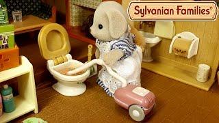 Что делать если засорился унитаз?! Мультяшный обзор набора Sylvanian Families для уборки дома