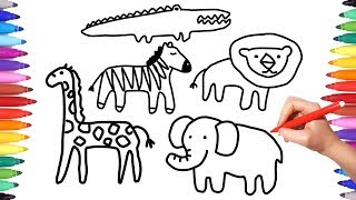 How to Draw Animals Coloring Pages for Kids | Coloring Savannah Animals | Animation Drawing Videos