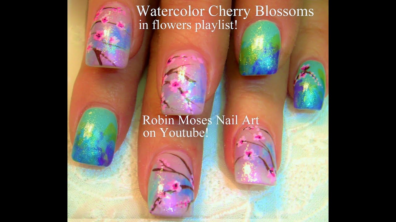 Easy Cherry Blossom Nails Watercolor Nail Art Design Tutorial You