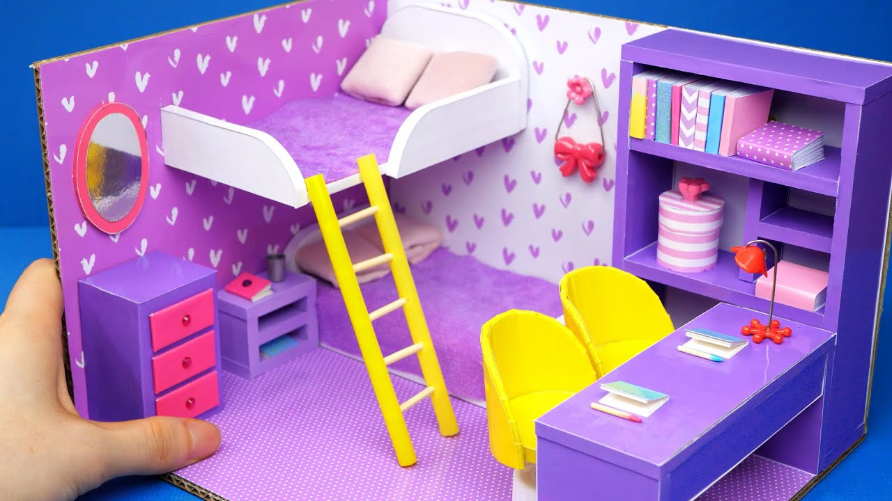 DIY Miniature Cardboard House #28   purple bedroom for two