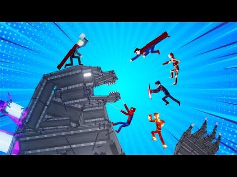 GODZILLA vs Marvel Heroes + DC Heroes [ People Playground Mod ]