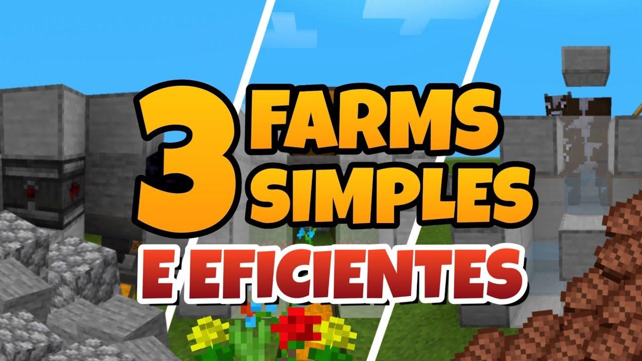 🔧Minecraft: 3 Farms Simples e Eficientes - SUPER ECONÔMICA E RÁPIDA (MCPE/XBOX/WINDOWS/PLAYSTATION)