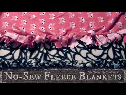 NO SEW FLEECE BLANKET - Easy DIY Tie Blankets | SoCraftastic - YouTube