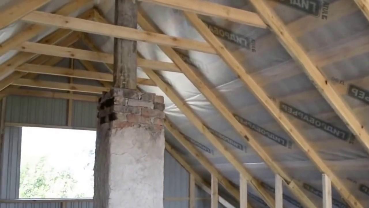 Двухскатная крыша с жилым этажом. Фронтон из проф настила. Подшивка. Обзор выполненных робот.