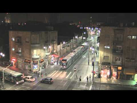 Jerusalem Light Rail at Night - Israel