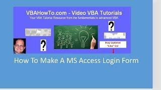 كيفية جعل MS Access نموذج تسجيل الدخول