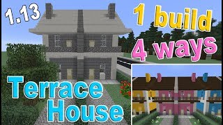 Minecraft  How to Build a Terrace House |  4 Styles!!