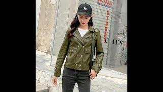 Мотоциклетная кожаная одежда женская весенне осенняя тонкая куртка с отворотом и большим карманом