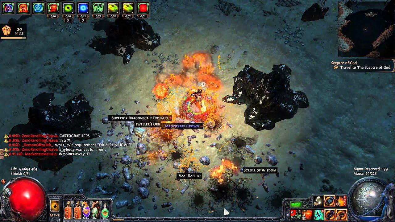 path of exile crit molten strike bino s kitchen knife plateau