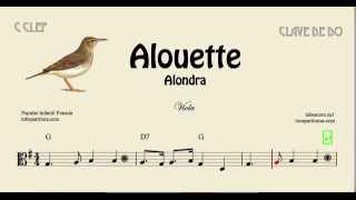 Alouette Partitura fácil de Viola en Clave de Do con Acordes Infantil Canción Alondra