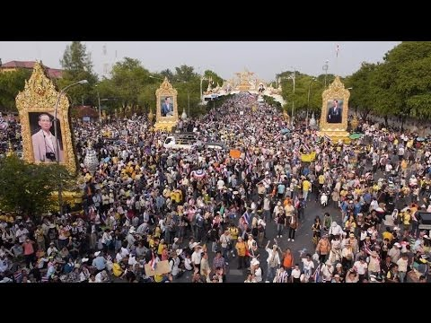 DRONE FILMS HUGE THAILAND PROTEST CROWDS BBC NEWS