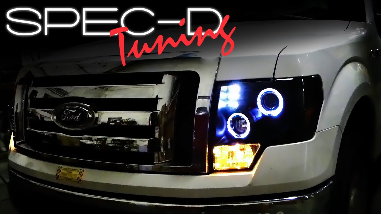 medium resolution of specdtuning installation video 2009 and up ford f150 projector headlights youtube