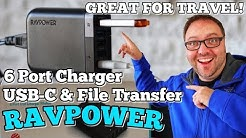 RAVPOWER Filehub 60W USB-C 6 Port Charger with Data Transfer Review  - From Amazon