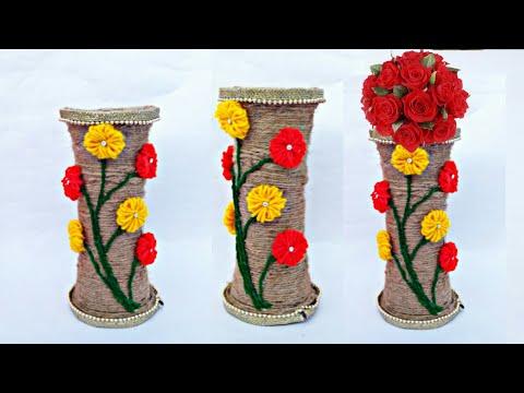 You2Repeat & Repeat How to make decorative Jute flower vase | DIY Jute Flower Pot ...