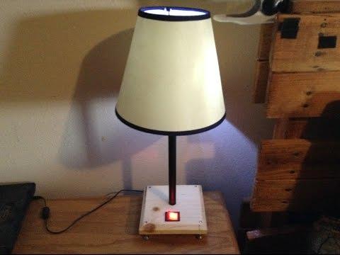 DIY wood base table lamp