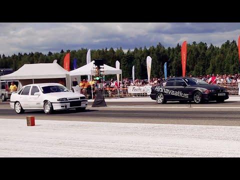 BMW 540i E39 4.4TT 2xHX35 vs Opel Vectra C20XE PTE6266 1/4 mile drag race
