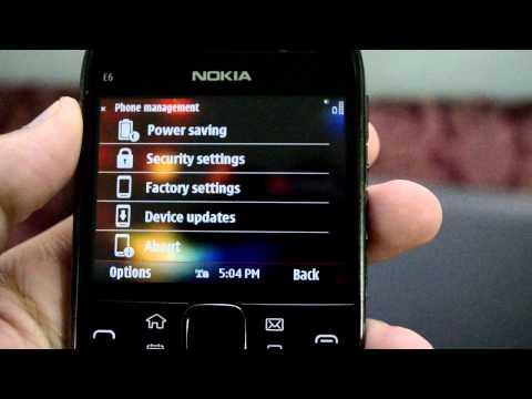 Nokia e6 - Settings Panel
