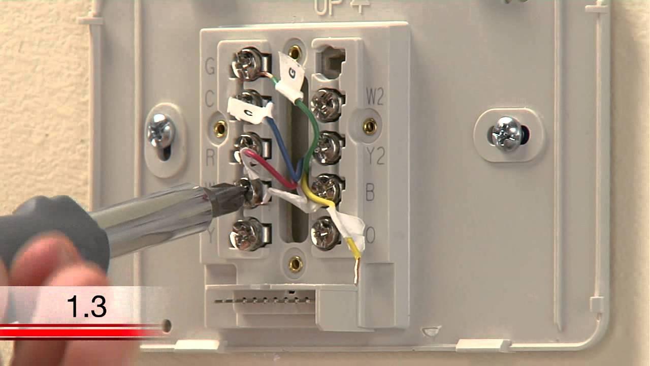 small resolution of honeywell rth6580wf wi fi tstat c wire installation video youtube rh youtube com honeywell digital thermostat wiring diagram wiring diagram honeywell