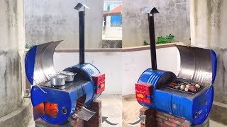 Wood stove with outdoor oven / Creative ideas from cement stoves and non iron barrels