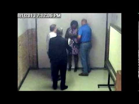 3 men mob lone grandmother at her school job!