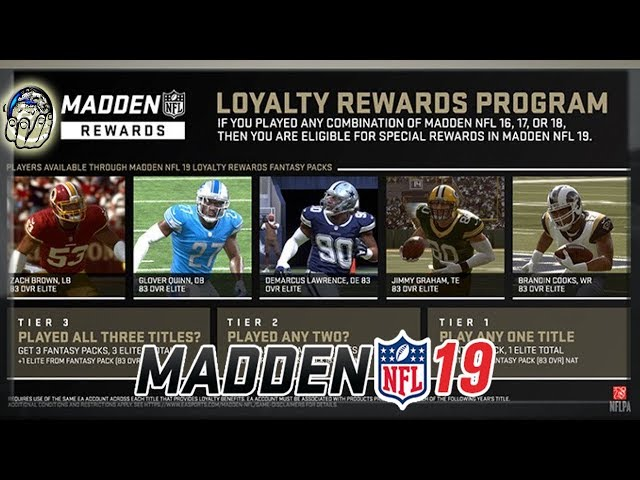 HOW TO GET MADDEN NFL 19 LOYALTY REWARDS PROGRAM CONTENT! FREE ELITES FREE PACKS IN Madden NFL 19