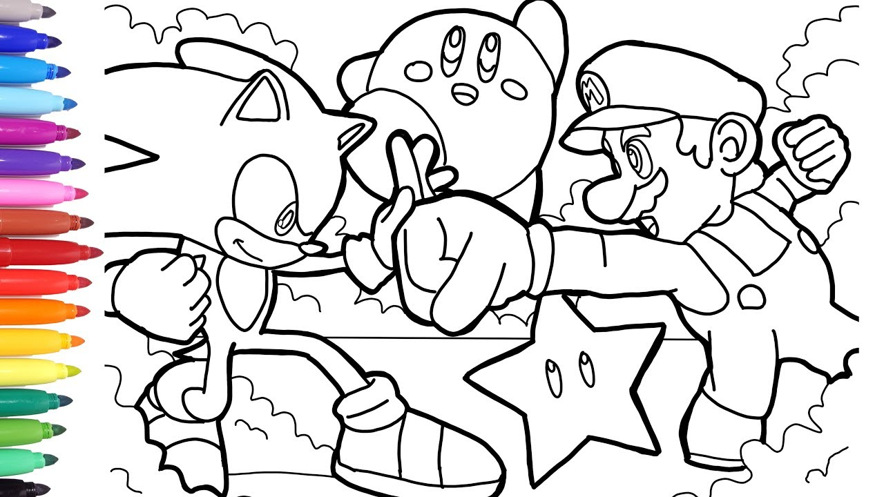 Sonic vs Mario Coloring Pages