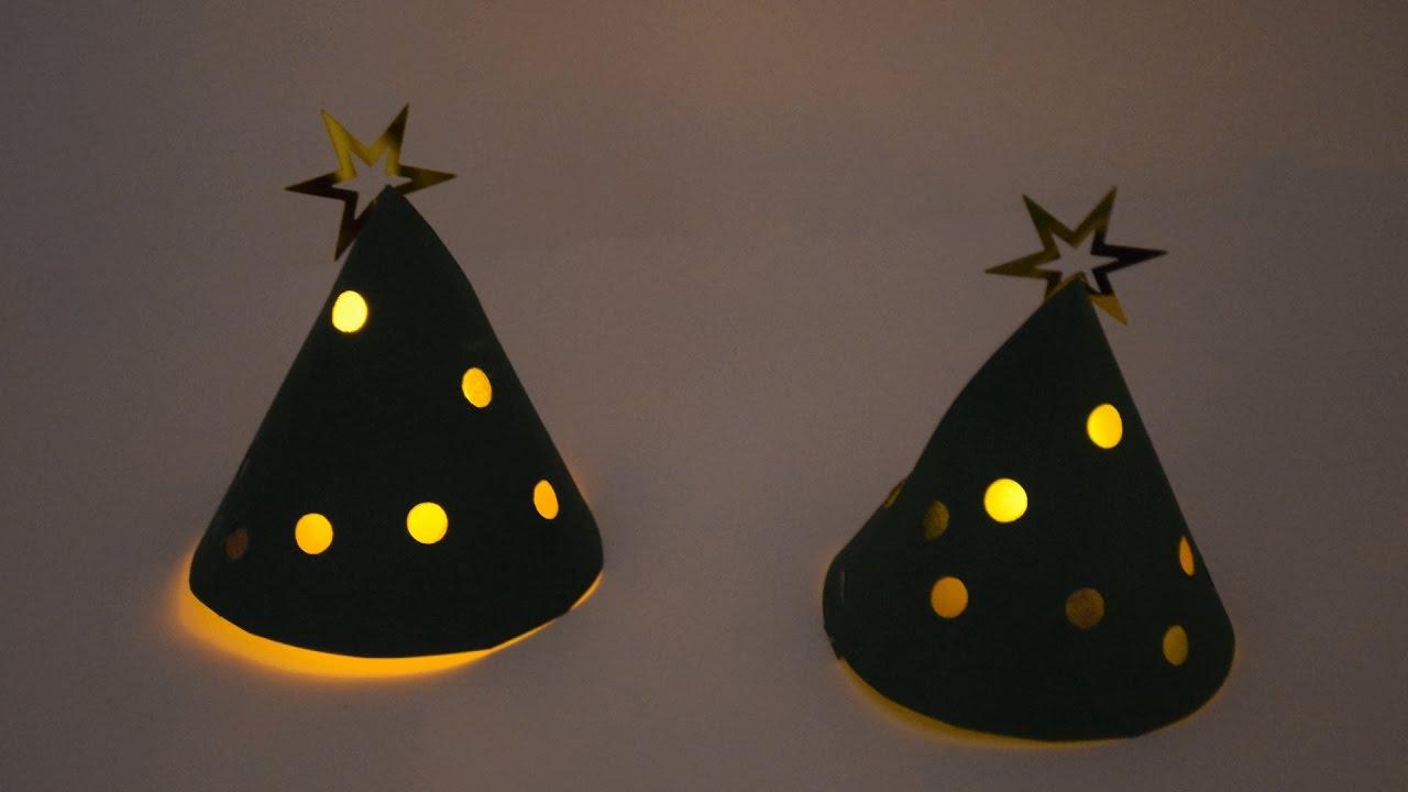 kleinen tannenbaum mit licht basteln youtube. Black Bedroom Furniture Sets. Home Design Ideas