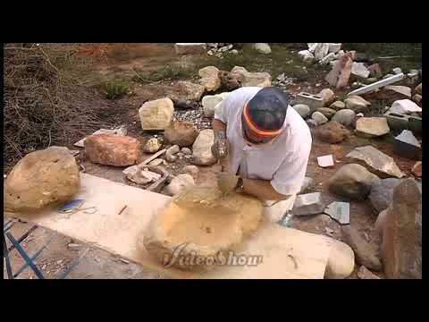 Elaboraci n de lavabo de piedra envejecido youtube - Como colocar piedra natural ...