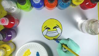 Easy learn how to draw a laughing crying emoji, Active Learning Art for kids