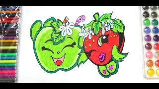 HOW TO DRAW APPLE BLOSSOM AND STRAWBERRY KISS SHOPKINS- SHOPKINS  COLORING PAGE FOR KIDS