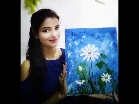 Easy abstract flower painting /For Beginners/ Demonstration/  Simple Technique on canvas by Anie