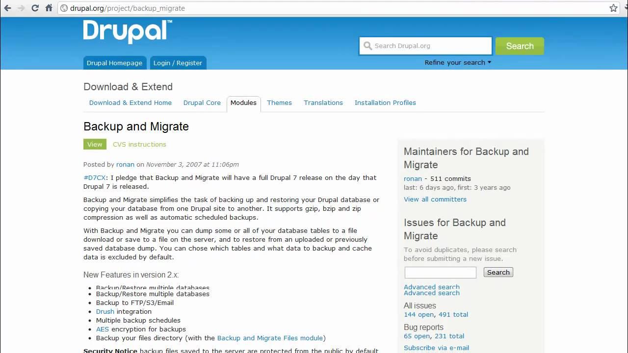 Drupal Backup & Migrate Module Tutorial - YouTube