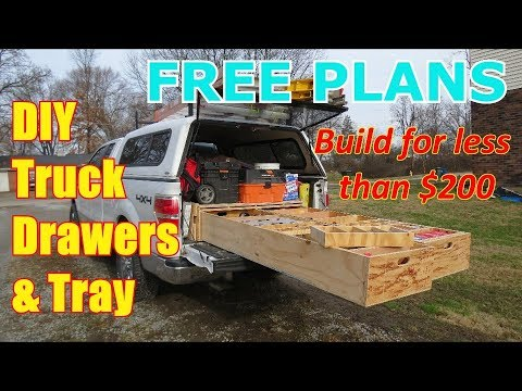 FREEE PLANS!!   DIY Truck Drawer Box and Slide-out Tray