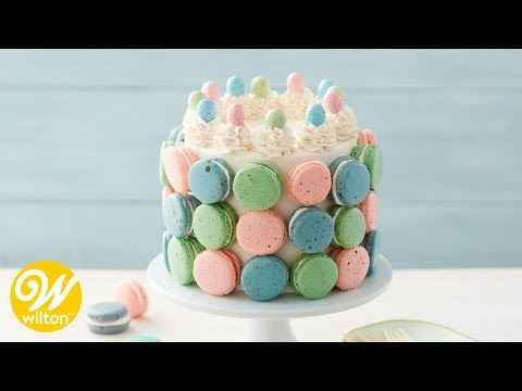 How to Make a Pastel Macaron Covered Easter Cake | Wilton