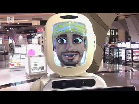 A talking robot at the Muscat Duty Free