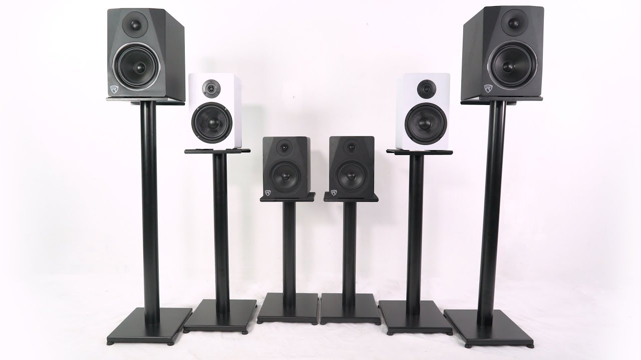 Rockville RS Bookshelf/Studio Speaker Stands in Black & White (RS8B RS8W  RS8B RS8W RS8W RS8B)