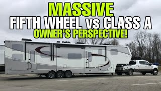 RVers DREAM SETUP!  LUXE Fifth Wheel RV and Ford F450 Hauler combination!