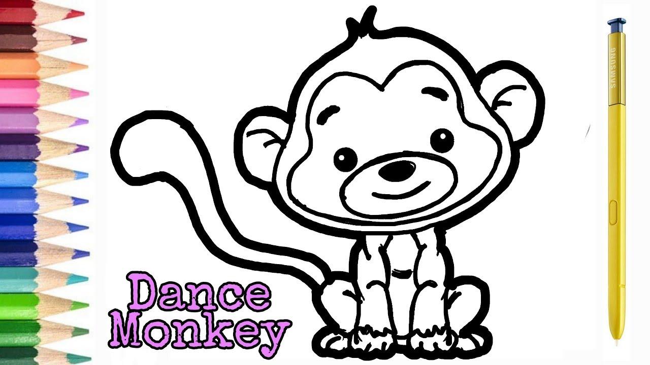 Dance monkey, Cara menggambar dan mewarnai monyet lucu ...