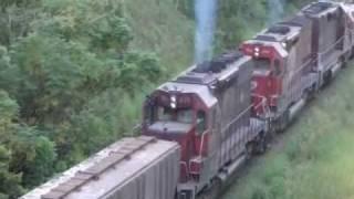 TREM SETE LOCOMOTIVAS ACELERANDO LONDRINA  -  RAILWAYS - COMPLETO - By FARINA