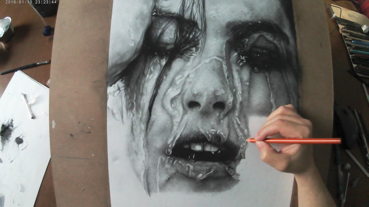 Hyperrealistic portrait pencil drawing time lapse