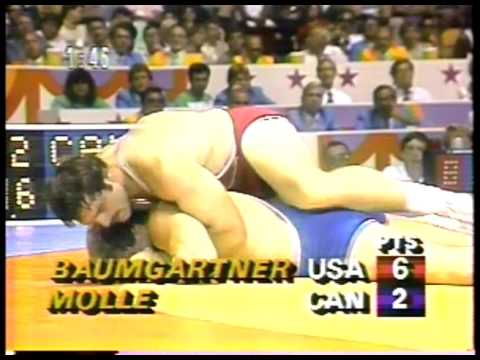Olympics - 1984 Los Angeles - Wrestling - Freestyle 100kg Gold Match - USA Baumgartner VS CAN  Molle