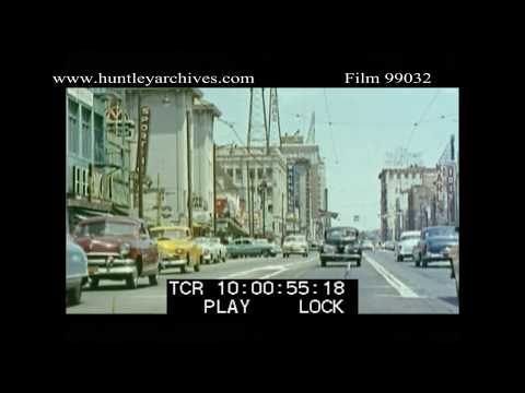 Hollywood Boulevard in the 1950's.  Archive film 99032