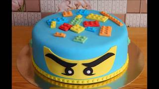 Кубик лего из мастики. Торт Ниндзяго. LEGO Ninjago cake.