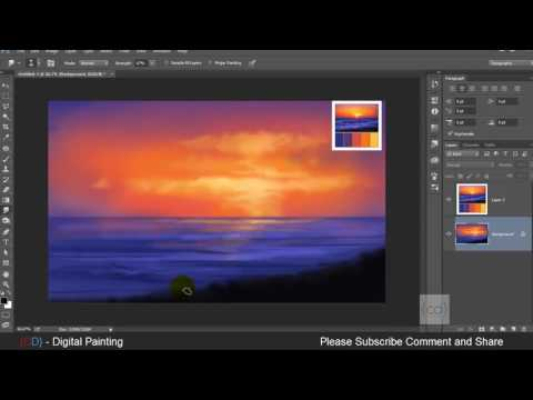 Digital painting tutorial Photoshop step by step || landscape drawing