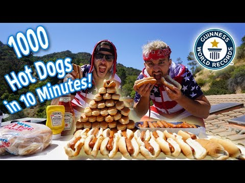 (WORLD RECORD) 1000 HOT DOGS IN 10 MINUTES ON A MANSION FOR 4TH OF JULY!