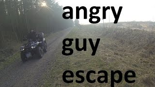 Angry guy on quad chases us / KTM EXC / Suzuki DRZ