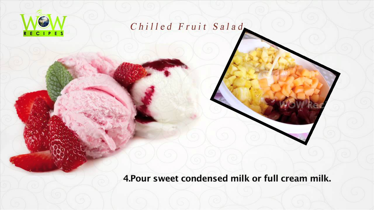 Special Chilled Fruit Salad - Indian Style Easy Fruit Custard Recipe ...
