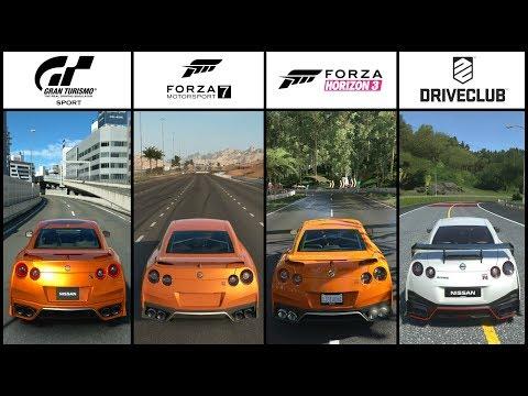 GT SPORT vs FORZA 7 vs FORZA HORIZON 3 vs DRIVECLUB - Nissan GT-R Race
